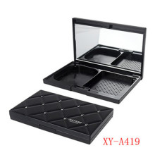 Black Rectangle Compact Powder Case with Mirror