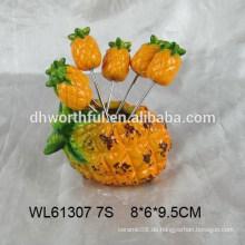 Lustige Ananas Design Keramik Frucht Gabelhalter