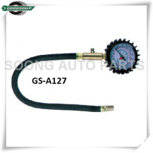 Metal body Dial Type Tire Gauge with flexible hose, Clip on chuck tire pressure gauge