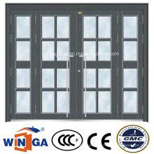Classic Grey Color Big Security Steel Glass Door (W-GD-37)