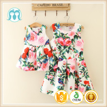 Wholesale comfortable mom & kids cheap bulk full printing cotton fashion design flower girl dress