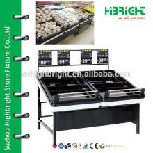 fruit and vegetable display stand , supermarket wooden vegetable and fruit shelf