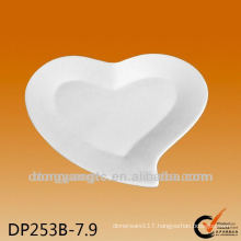 7.9 inch customized logo heart shaped porcelain plate