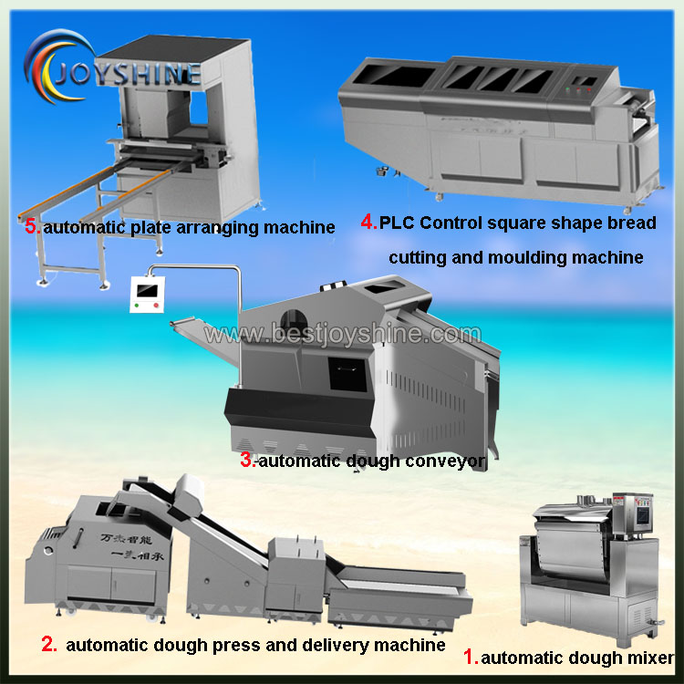 automatic square shape middle steam bread production line