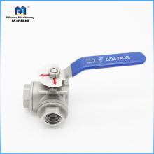 """Válvula de bola de extremo atornillado de 3 vías de acero inoxidable CF8M de 1/2 """"estándar"""