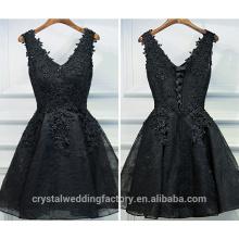 Vestidos de cóctel de encaje Partido encantador Puffy vestido de cóctel negro sin mangas CWFc2436