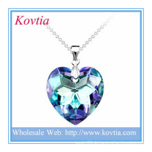 Mode glänzend Kristall blau Herz Ozean glänzend gebrochen Herzen Silber Anhänger Schmuck