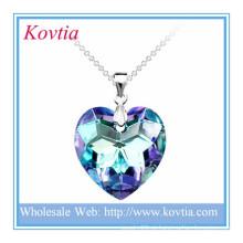 Moda brilhante cristal azul coração oceano brilhante coração partido jóia pingente de prata