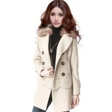 Chaussures de style coréen d'hiver Longue veste de fourrure en fourrure Manteau de laine à deux mains Breasted