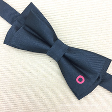 Black Ground with Red Embroidery Donuts Chinese Silk Men Custom Bow Ties
