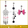 6pcs Assorted Designs 316L Surgical Steel Dream Cathcer Crystal Vine Dangle Navel Ring