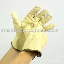Beige cow grain Driver glove