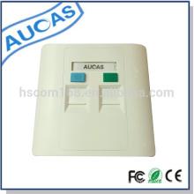 Cable de red de suministro de fábrica y placa frontal de doble puerto para insertar jack rj45 modular venta caliente