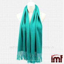 Quente Fashionable cor sólida turquesa malha cachecol xales Kashmir para as mulheres