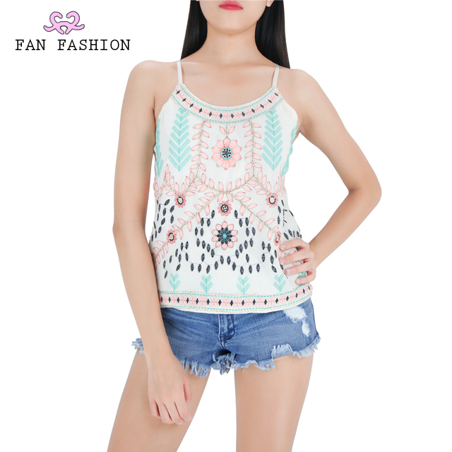 Embroidered Sequin Tank Tops