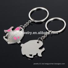 Nette Fischliebespaar-Schlüsselketten / Schlüsselring / Hochzeitsgeschenk metallisches kleines Geschenk YSK003