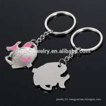cute fish love couple key chains /key ring/wedding gift metallic small gift YSK003