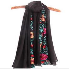 Las mujeres calientes de la manera respirable suave caliente aman el mejor tamaño 180 * 90 cm bufanda del algodón de la bufanda del Embrodiery del moq bajo en mumbai