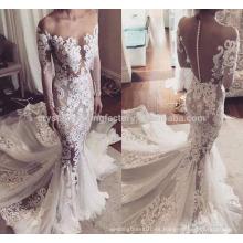 Vestidos de boda largos de la manga de la sirena musulmana del cordón del tamaño del vestido nupcial de la nueva manera de la alta calidad WW1420