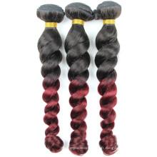 100% remy cheveux brésiliens bouncy bouclés deux tons ombre couleur cheveux tissage fabriqués en Chine