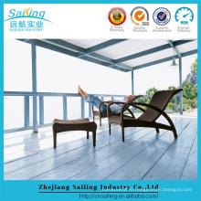 Открытый плетеный патио Sun Lounger с мебелью из оттоманов