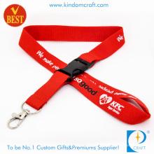 Lanière imprimée plate en nylon de logo adaptée aux besoins du client avec le dégagement de sécurité au prix d'usine comme souvenir