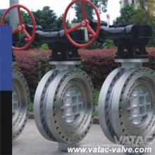 Двойной фланцевый клапан-бабочка из нержавеющей стали CF8 / CF8m / CF3 / CF3m из нержавеющей стали с ручным управлением