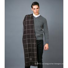 100% Bufanda de lana de los hombres en hilo de colores sólidos Bufanda de lana de tinte
