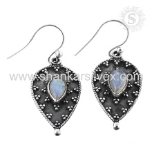 Handmade silver earring rainbow moonstone jewelry 925 sterling silver wholesale jewellery supplier jaipur