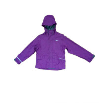 Purple Hooded PU Raincoat for Children