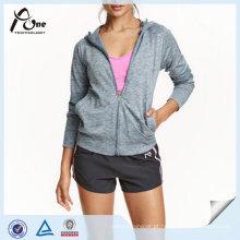 Mulheres Sport Hoodie Atacado Planície Completa Zip Ginásio Camisola Com Capuz