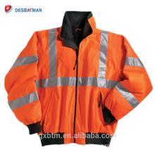 Пользовательские Привет ВИС светоотражающие рабочая одежда ANSI класс 3 Водонепроницаемый теплый флис зима высокая видимость безопасности куртка
