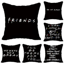 Black Letters Printed Customized Cushion Cover