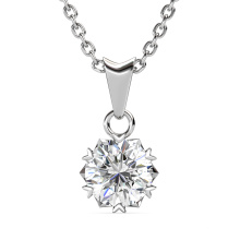 Fine Jewelry 925 Sterling Silver 1.0 Carat Gra Moissanite Diamond Solitaire Heart Necklace for Women