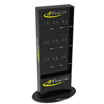 Single Side Stable Black Acrylic Display Stand with Metal Hooks