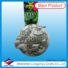 2014 3D Special Zinc Alloy Medal Antique Silver Race Medal with Neck Lanyard, Metal Souvenir Medallion Award (LZY-201300074)