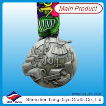 2014 Medalha especial de liga de zinco 3D Medalha de prata antiga com cordão de pescoço, prêmio medalha de metal Lembrança (LZY-201300074)