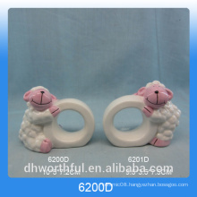 Kitchenware ceramic paper napkin ring with sheep figurine