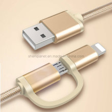 2 in 1 Nylon Braided USB Charge Sync Cable for Micro and Ios Phone