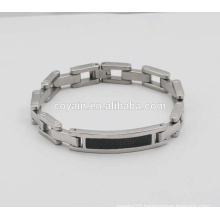 Fashion Men Stainless Steel Fiber Carbon Link Chain Bracelet