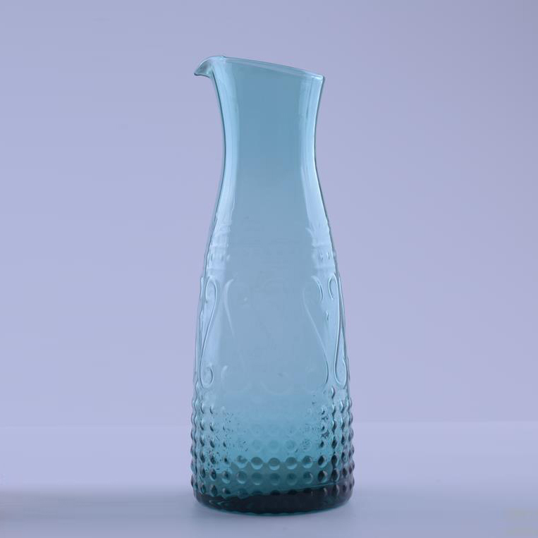 Br 8213unique Blue Colour Raised Design Glass Pitcher