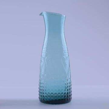 Unique Colour Raised Design Glass Pitcher Glass Jug