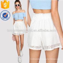 Lace Frill Trim Self Tie Waist Shorts Manufacture Wholesale Fashion Women Apparel (TA3021B)