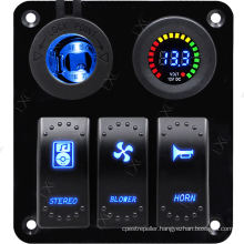 3 Gang Waterproof Marine Aluminum Switch Panel Circuit Breaker with LED