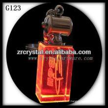 Porte-clés en cristal LED avec image gravée au laser 3D à l'intérieur et porte-clés en cristal blanc G123