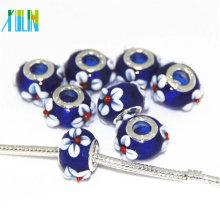 Perles européennes de bricolage de lampwork d'Italie avec le noyau argenté de couleur 9 * 14mm, trou 4.5mm
