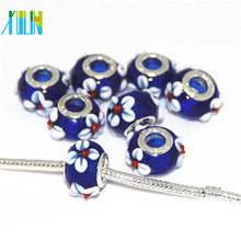 DIY italy lampwork european beads with silver color core 9*14mm, hole 4.5mm