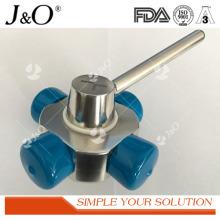 Válvula de bola tipo 4 vías de acero inoxidable sanitario