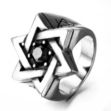 Partihandel Titan Stål Sex Pointed Stars Zircon ring