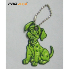Reflective PVC Green Dog Key Chain For Bag